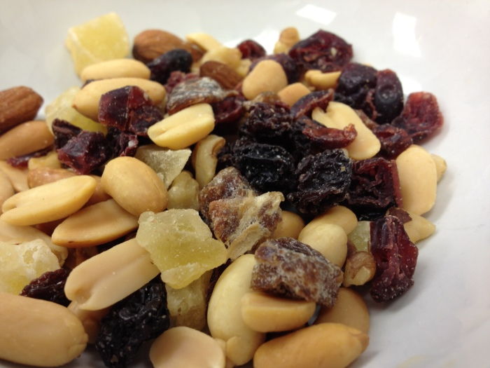 mixed dried fruit, did not eat peanuts!