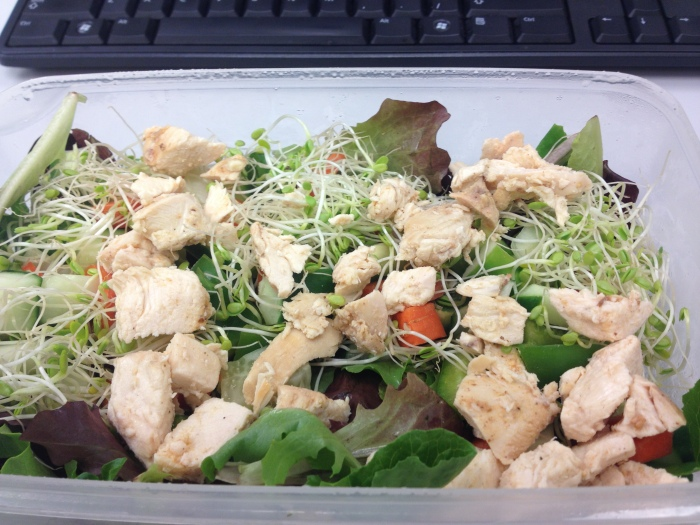chicken salad w/ sprouts, carrot, cucumber, bell pepper, and mixed greens